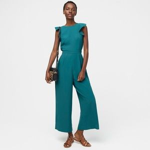 J. Crew Sleeveless Ruffle Jumpsuit In 365 crepe